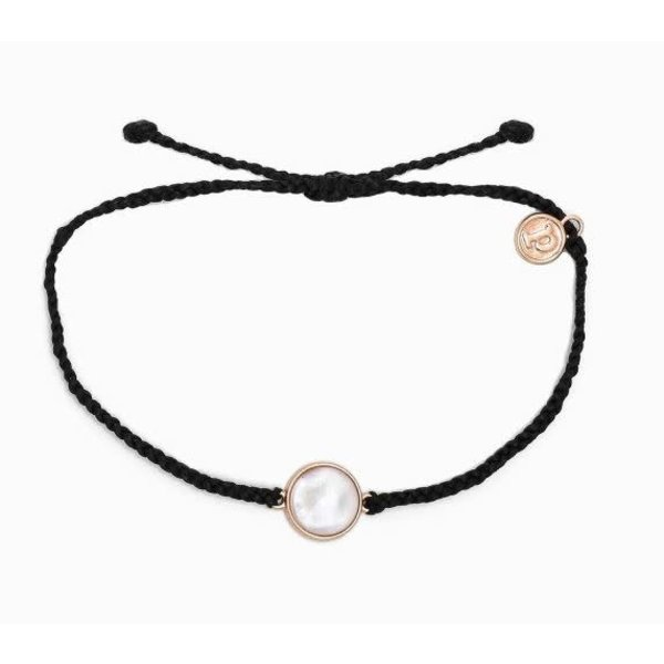 Pura Vida Charm Mother of Pearl Rose Gold Black Bracelet