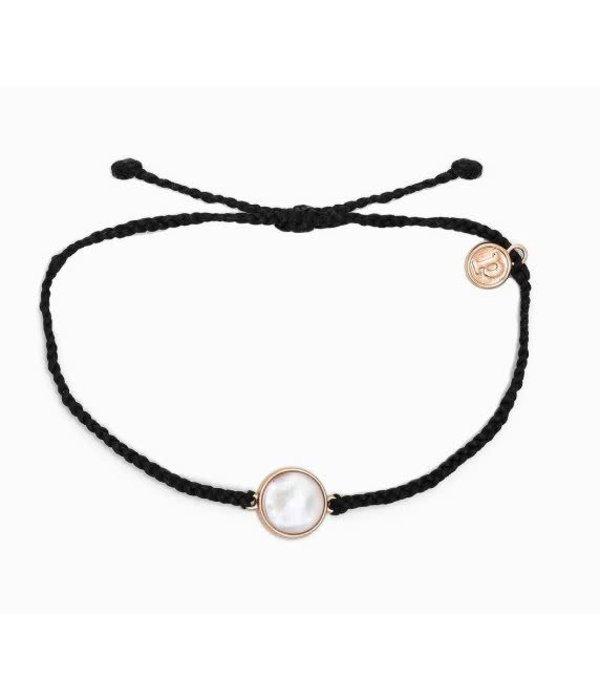 Pura Vida Charm Mother of Pearl Rose Gold Black Bracelet by Pura Vida
