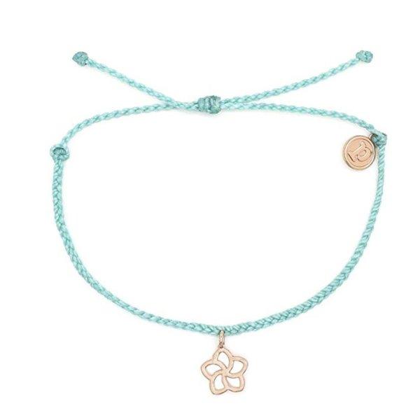 Pura Vida Charm Plumeria Rose Gold seafoam Bracelet