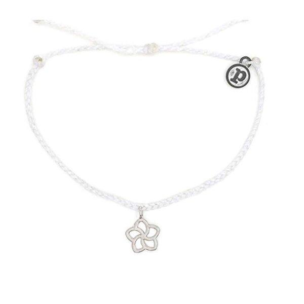 Pura Vida Charm Plumeria Silver white Bracelet