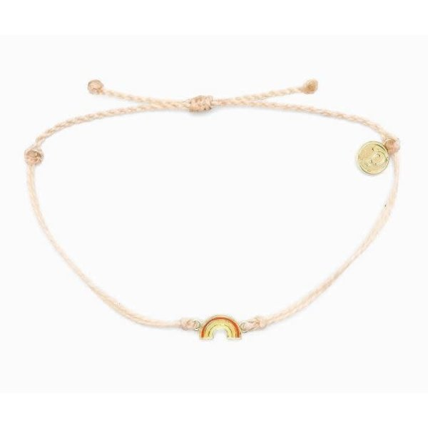 Pura Vida Charm Rainbow Gold cream Bracelet