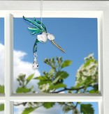 Crystal Peacock Hummingbird Suncatcher