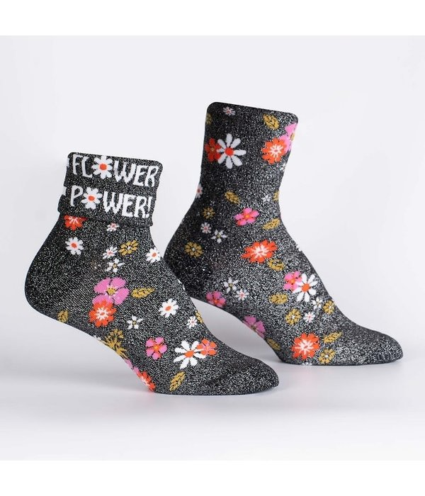 Cuff Crew Socks Flower Power