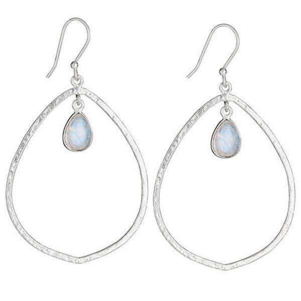 Moon Stone Hoop Earrings