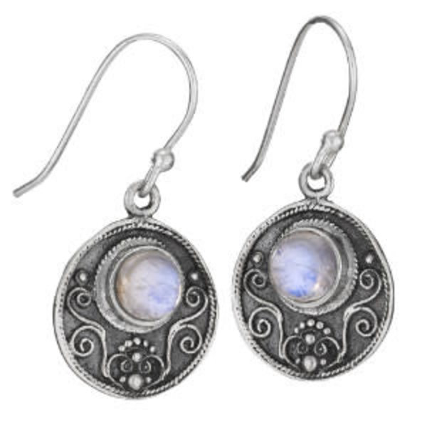 Circle Moon Stone Earrings