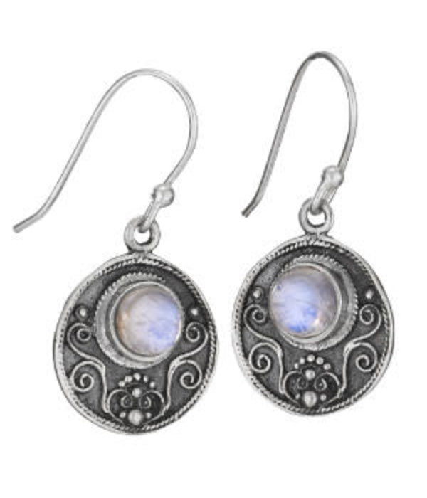 Circle Moon Stone Earrings