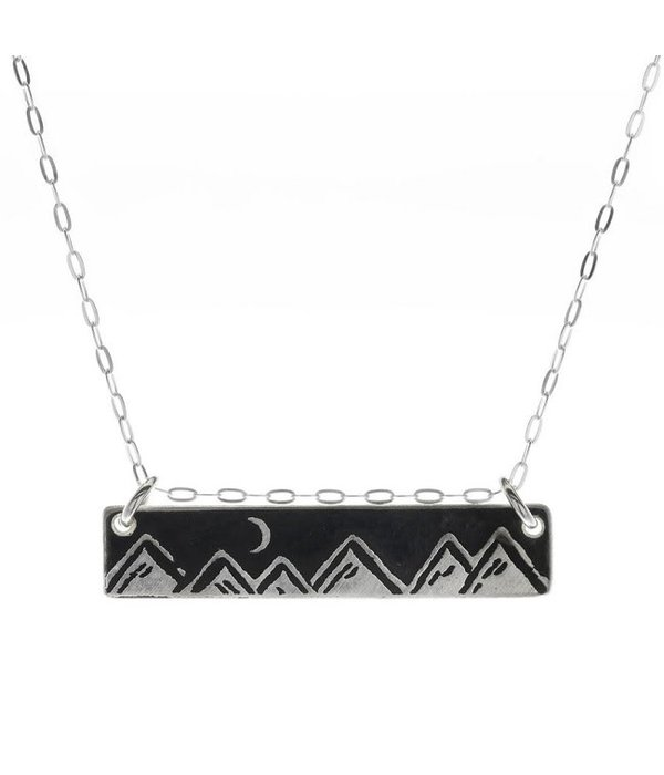 Silver Moonlit Mountains Bar Necklace
