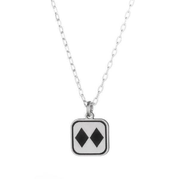 Silver Double Diamonds Necklace