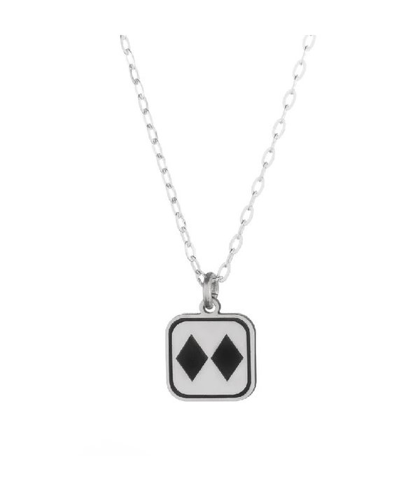Silver Double Diamonds Necklace