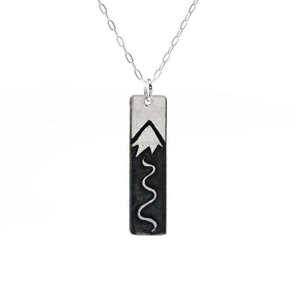 Silver Ski Slopes Bar Necklace