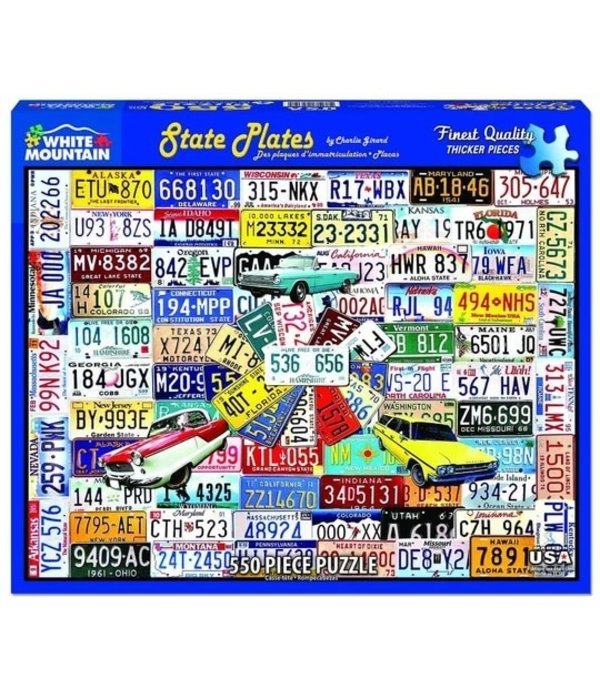 White MTN Puzzles State License Plates 550 Piece Puzzle