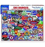White MTN Puzzles Ski Badges 1000 Piece Puzzle