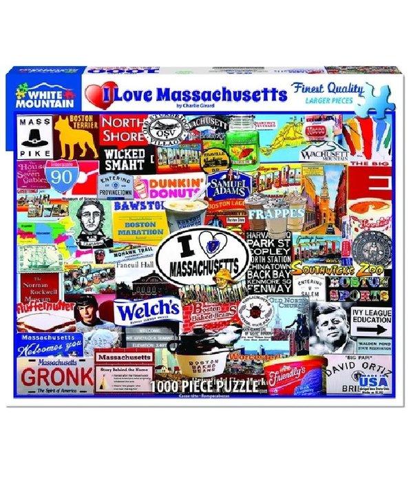 White MTN Puzzles 1000 Piece I Love Massachusetts Puzzle