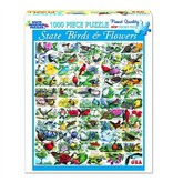 White MTN Puzzles 1000 Piece State Birds and Flowers Puzzle