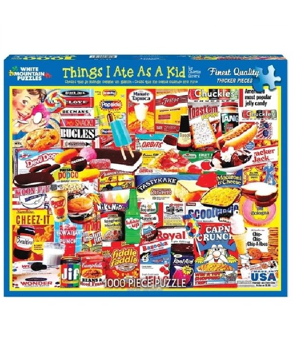 White MTN Puzzles 1000 Piece Things I Ate As A Kid puzzle