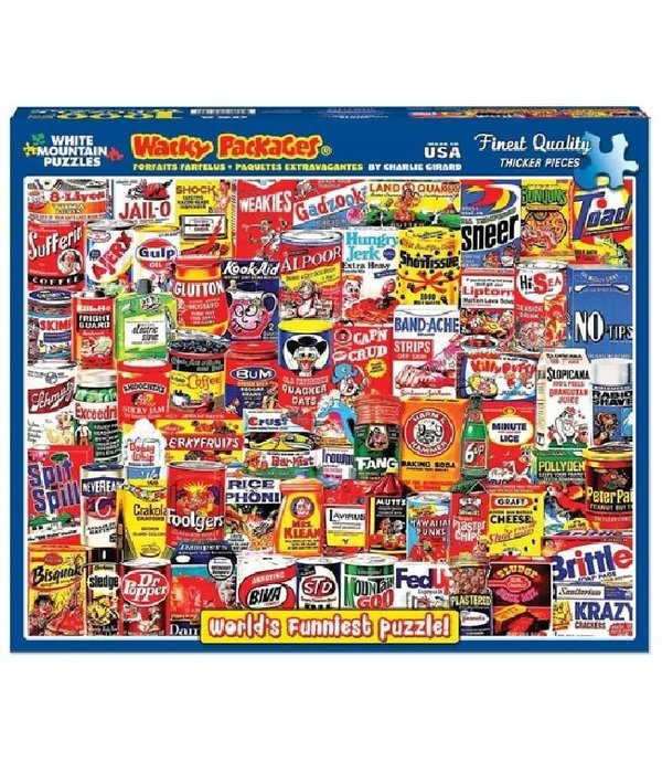 White MTN Puzzles 1000 Piece Wacky Packages Puzzle