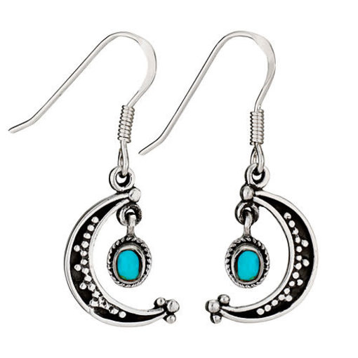Moon Earrings With Turquoise