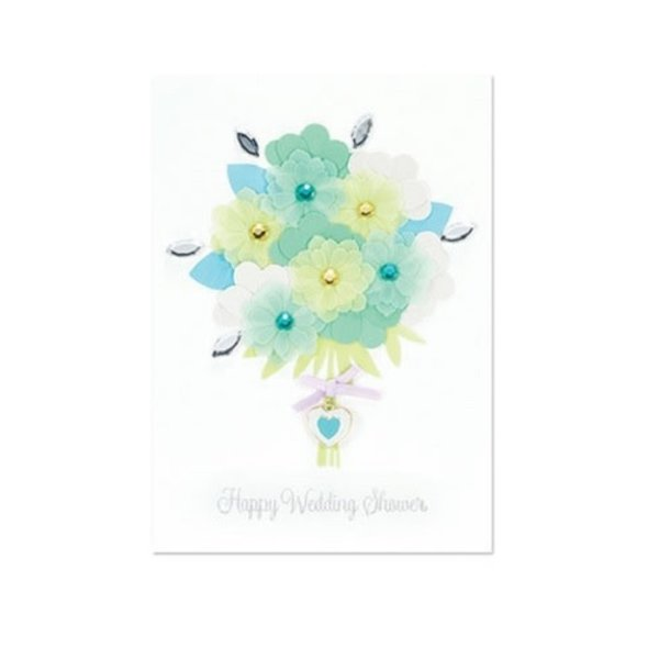 Wedding Card Blue and Green Wed Bouquet