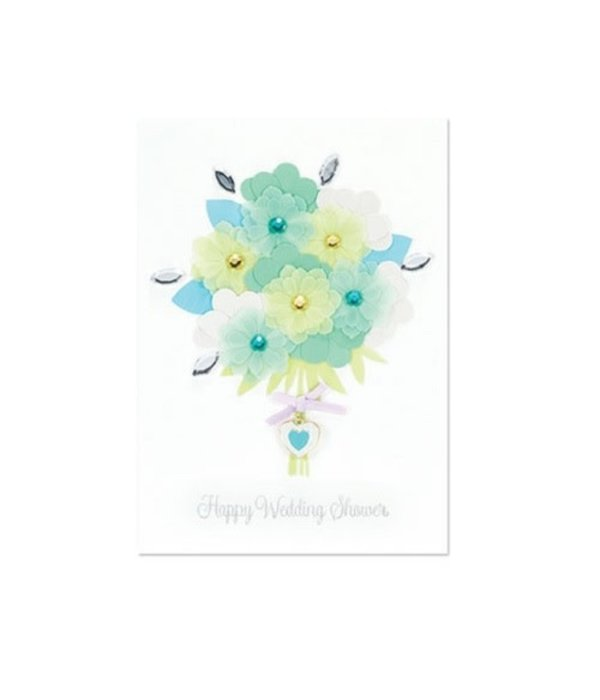 Papyrus Wedding Card Blue and Green Wed Bouquet