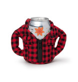 Puffin Coolers Flannel Koozie Red
