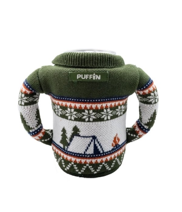 Puffin Coolers Sweater Koozie Green