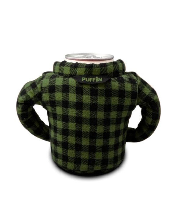 Puffin Coolers Flannel Koozie Green