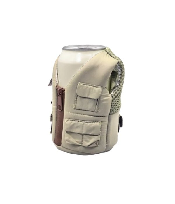 Puffin Coolers Adventure Vest Koozie Tan
