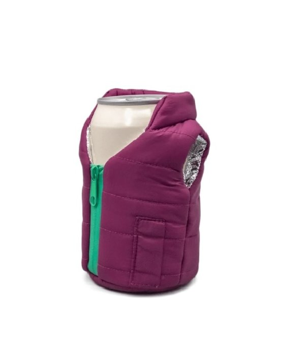 Puffin Coolers Vest Koozie Plum