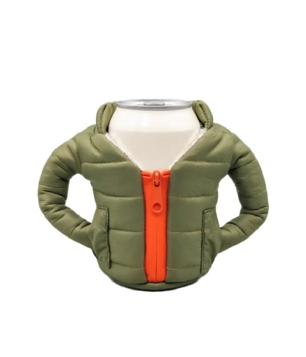 Puffin Coolers Jacket Koozie Green