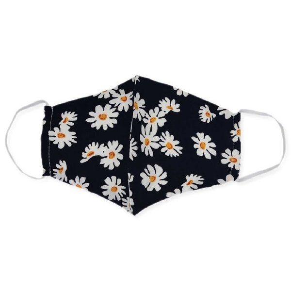 Face Mask Black and White Daisy