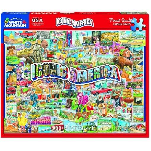 White MTN Puzzles Iconic America 1000 Piece Puzzle