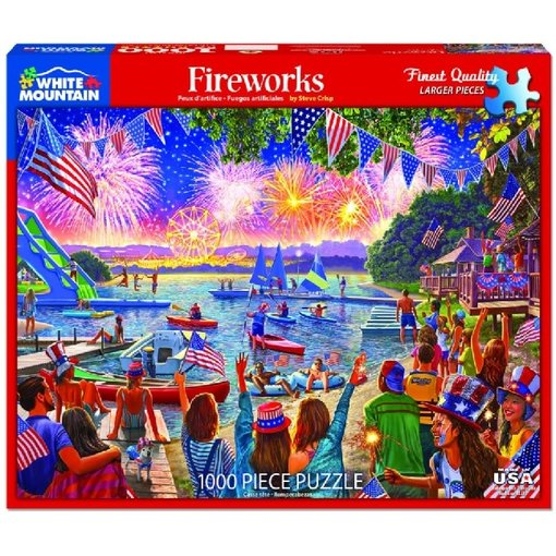 White MTN Puzzles 4th of July Fireworks 1000 Piece Puzzle