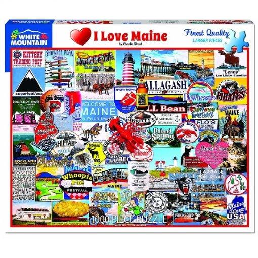 White MTN Puzzles I Love Maine 1000 Piece Puzzle