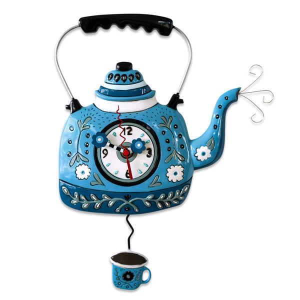 Blue Tea Kettle Clock