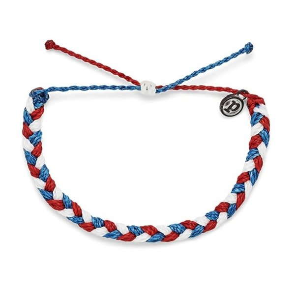 Pura Vida Braided Red White Blue Bracelet