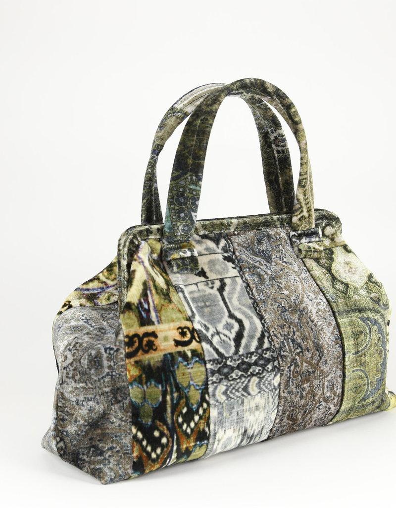 Marian Paquette - Handbag in Green/Grey Velvet Patchwork