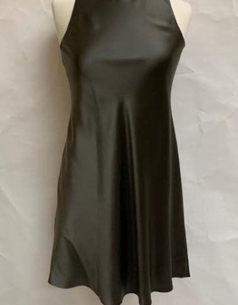 PETER COHEN - Silk / Satin Shift Dress in dark green