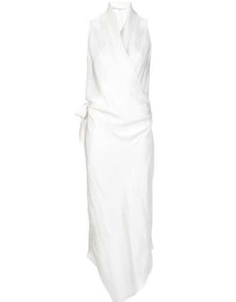 PETER COHEN - The Victor Wrap Silk Dress in Pearl