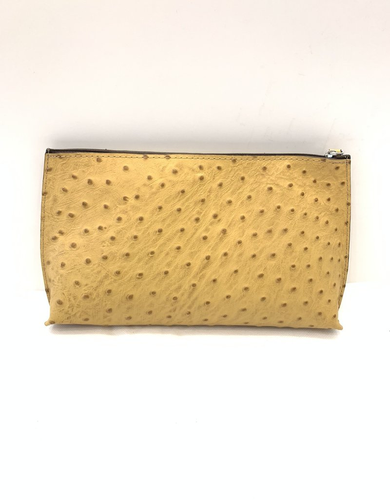 B.MAY BAGS - Clutch Pouch in Embossed Ostrich Yellow