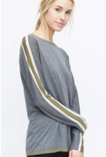 KOKUN - Racer Stripe Sleeve Sweater