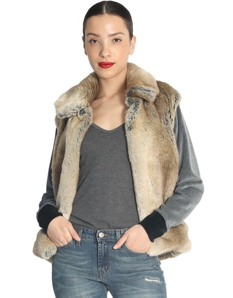 JET - Faux Fur Coat with Velour Sleeve