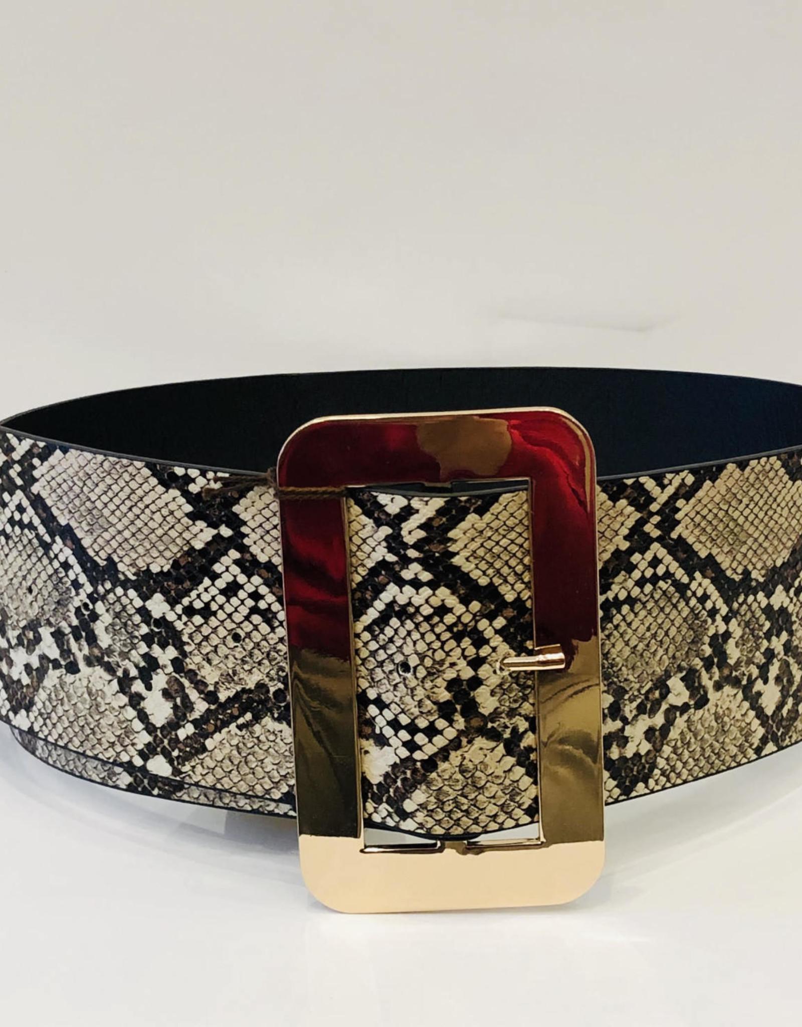 - Wide Snake Print Belt