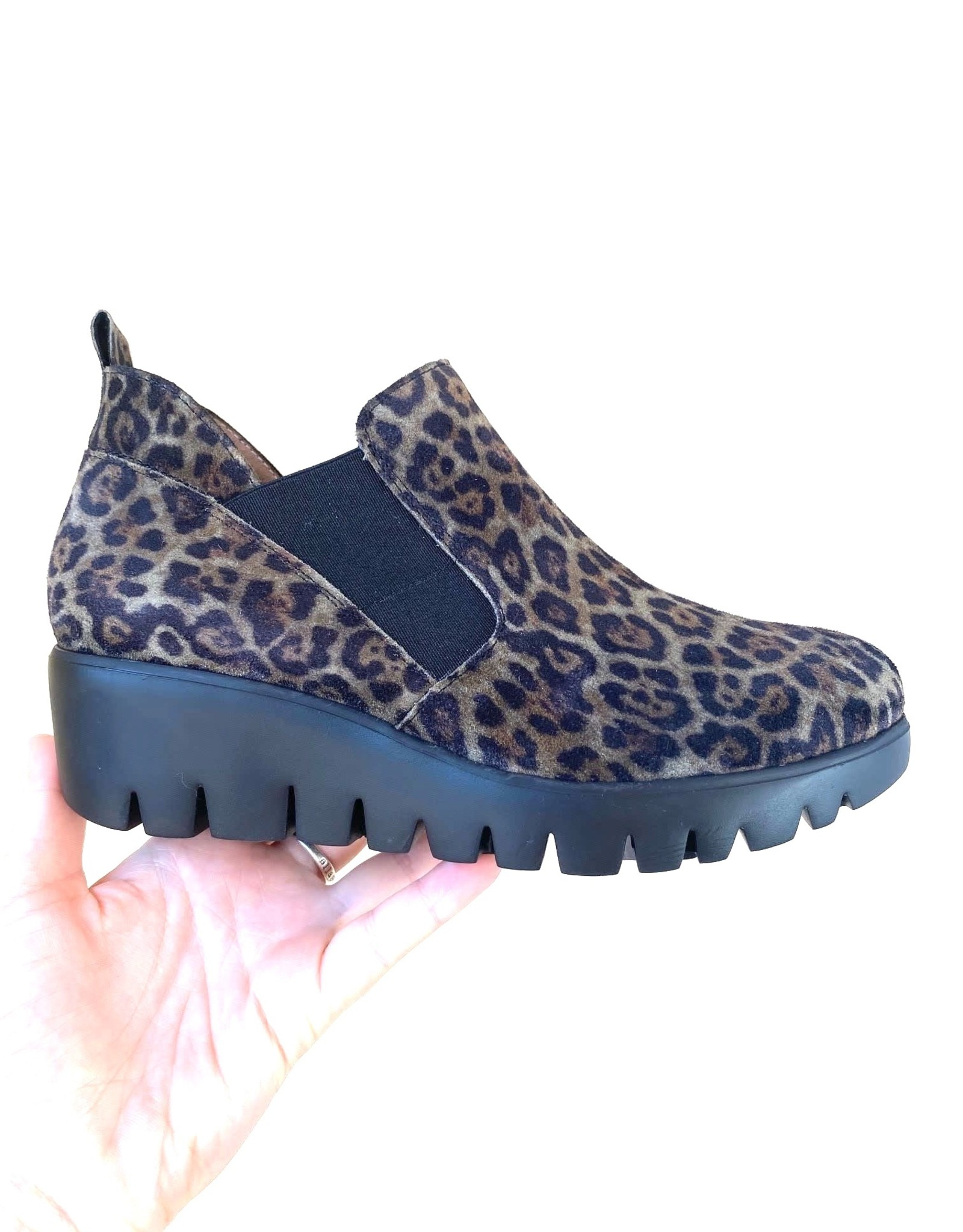 WONDERS - Leopard Wedge Ankle Boot