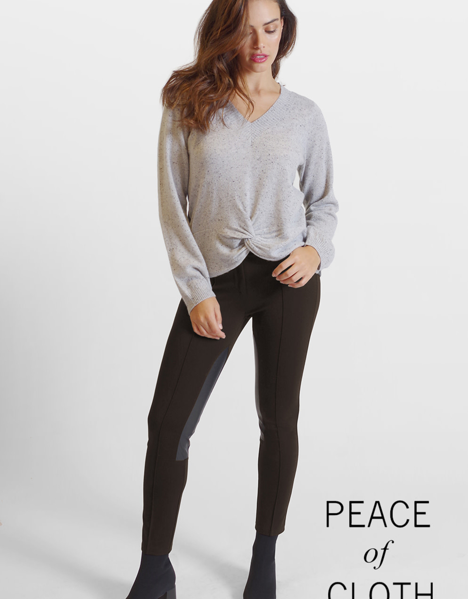 PEACE OF CLOTH - Leather/ Fabric Stretch Pant