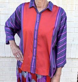 PERO - Stripe Silk Top