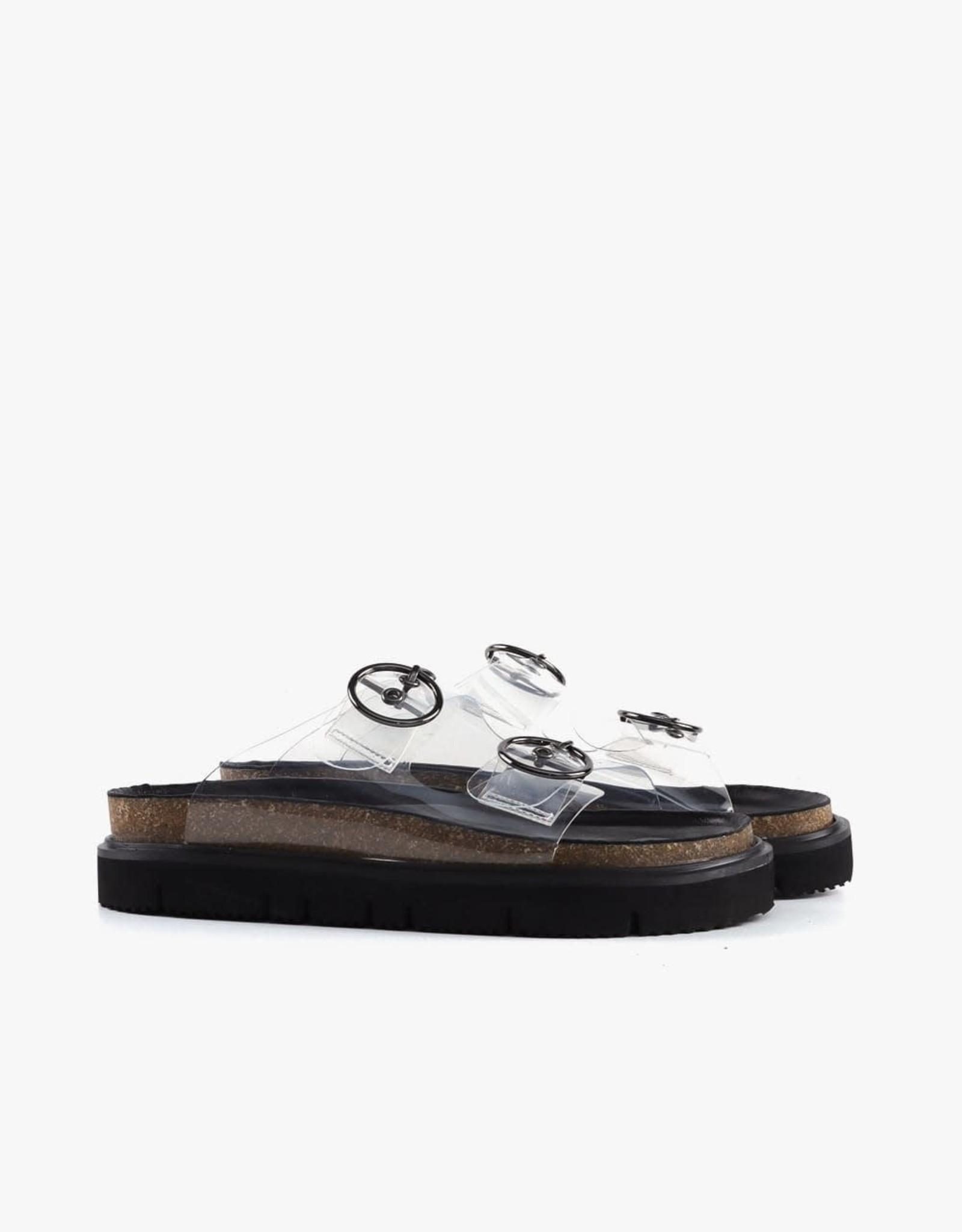 ALL BLACK Clear Circle Buckle Lowform Sandal