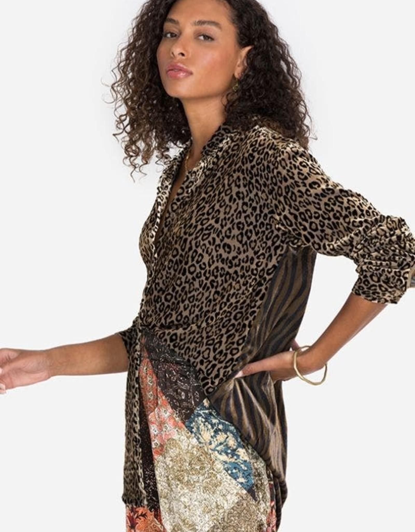 JOHNNY WAS Panthera Velvet Oversized Shirt