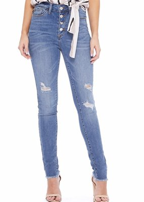 High Waisted Button Fly Jeans