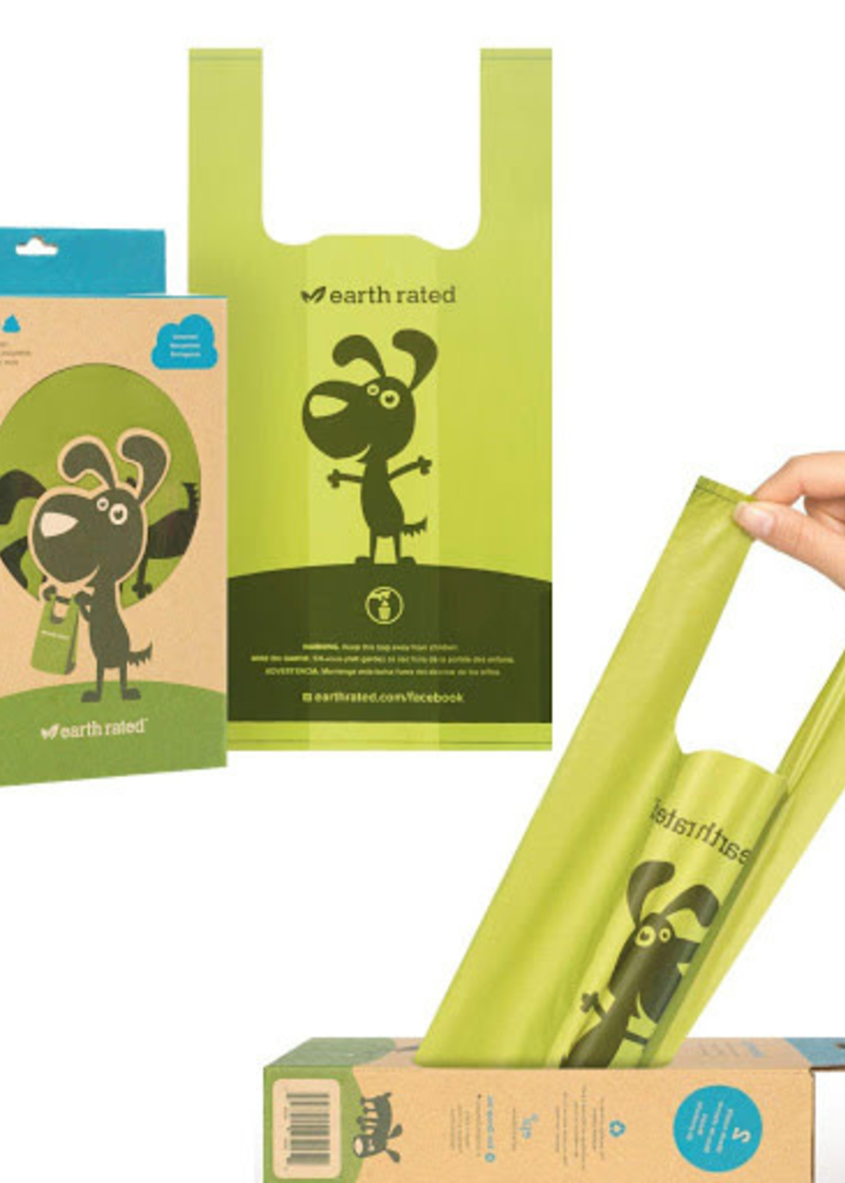 Earth Rated® POOP BAGS UNSCENTED 12 HANDLED BAGS