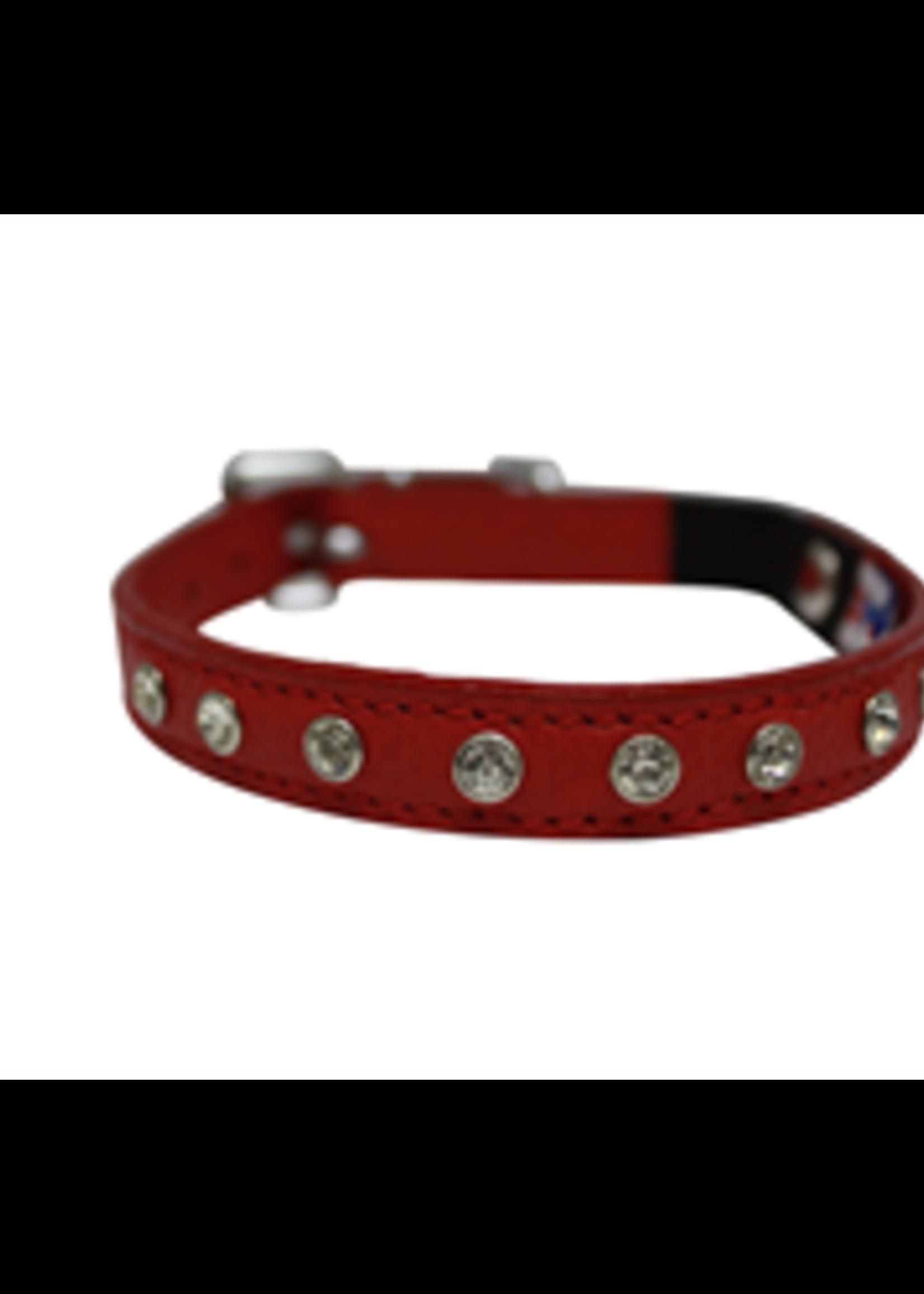 "Angel™Pet Supplies Angel Athens Collar with Rhinestones Valentine Red 1/2""x12"""